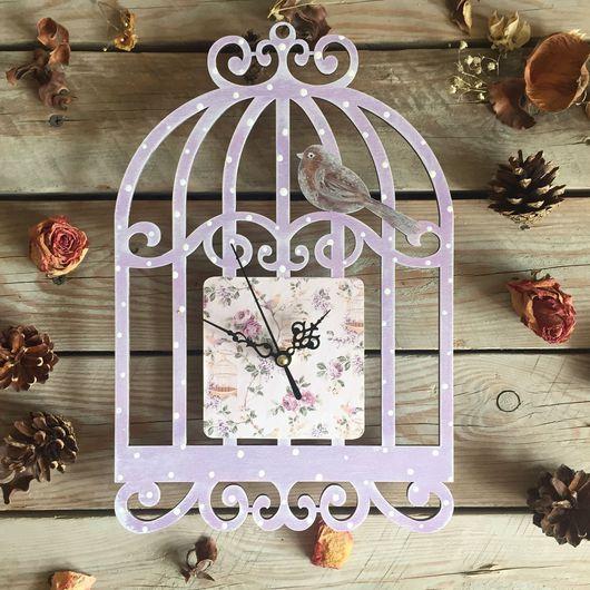 """Часы для дома ручной работы. Ярмарка Мастеров - ручная работа. Купить Часы """"Винтажная сирень"""". Handmade. Часы, птичья клетка"""
