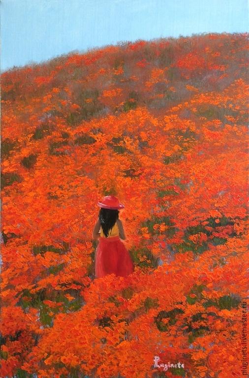 Пейзаж ручной работы. Ярмарка Мастеров - ручная работа. Купить На оранжевой горе. Handmade. Рыжий, цветы, тюльпаны, красота