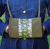 Аксессуары handmade. Livemaster - original item Clutch bag hand made of suede and leather with fur sheepskin Lettuce a. Handmade.
