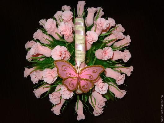 """Букеты ручной работы. Ярмарка Мастеров - ручная работа. Купить Корзина с розовыми бутонами """"Розовые мечты"""". Handmade. Розовый"""