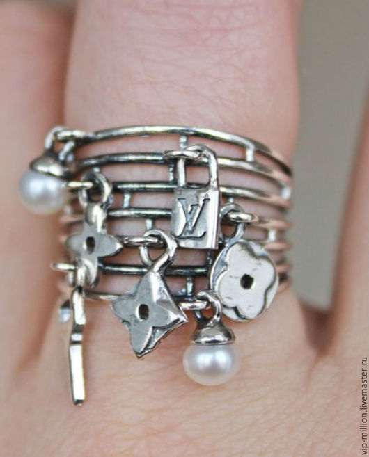 Кольца ручной работы. Ярмарка Мастеров - ручная работа. Купить Серебряное кольцо а ля Луи Виттон. Handmade. Серебряный