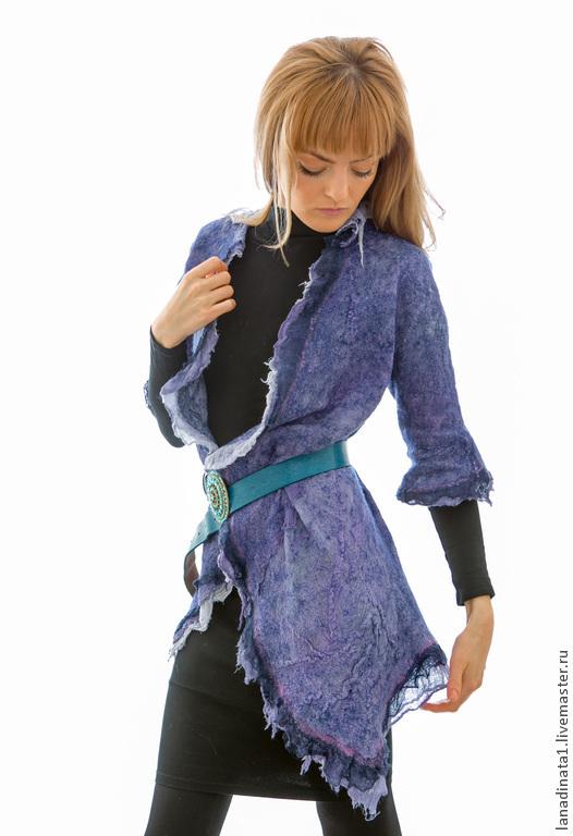 """Пиджаки, жакеты ручной работы. Ярмарка Мастеров - ручная работа. Купить Туника """"Деним"""" , нуновойлок, валяная одежда. Handmade. Синий"""