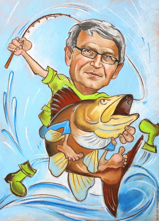 Шарж в подарок рыбаку на день рождения.