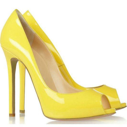 Обувь ручной работы. Ярмарка Мастеров - ручная работа. Купить Туфли женские  жёлтого цвета. Handmade. Туфли, женская обувь