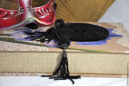 """Лариаты ручной работы. Ярмарка Мастеров - ручная работа. Купить Лариат из бисера """"Ночной страж"""". Handmade. Черный, мозаичное плетение"""
