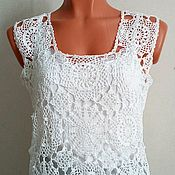 Одежда handmade. Livemaster - original item T-shirt summer openwork,crocheted from cotton. Handmade.