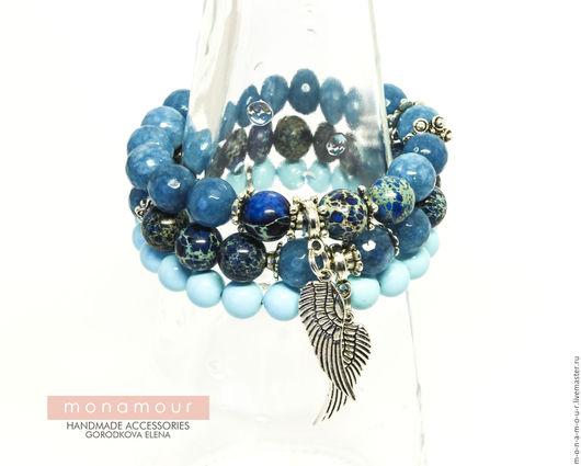 Браслеты ручной работы. Ярмарка Мастеров - ручная работа. Купить Сет браслетов и серьги  BLUE DREAMS. Handmade. Голубой