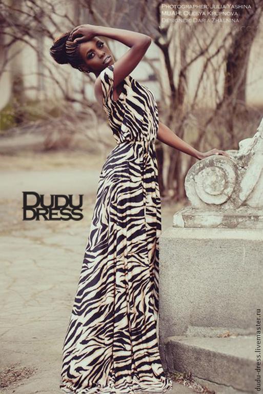 Платья ручной работы. Ярмарка Мастеров - ручная работа. Купить Тигровое платье в пол. Handmade. Звериная расцветка, платье в пол