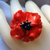 Украшения handmade. Livemaster - original item The scarlet poppy ring lampwork. Handmade.