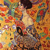 """Картины и панно ручной работы. Ярмарка Мастеров - ручная работа """"Девушка с веером"""", копия картины Климта, смальта. Handmade."""