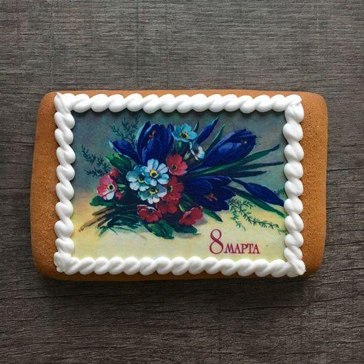Кулинарные сувениры ручной работы. Ярмарка Мастеров - ручная работа. Купить Пряник расписной - подарок на 8 марта открытка женщине с цветами. Handmade.
