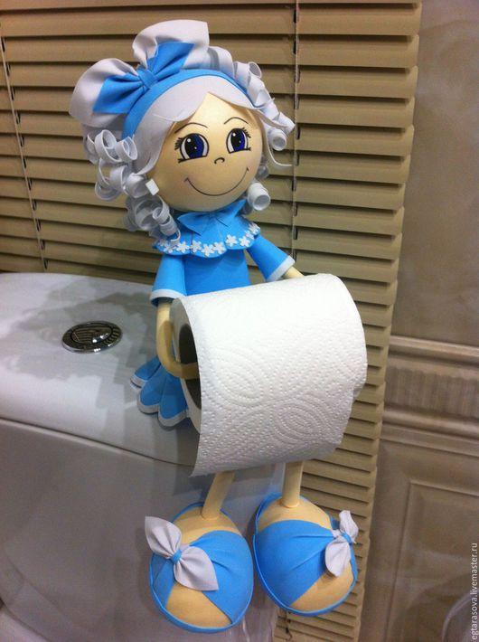 Ванная комната ручной работы. Ярмарка Мастеров - ручная работа. Купить Кукла-держатель для туалетной бумаги. Handmade. Голубой
