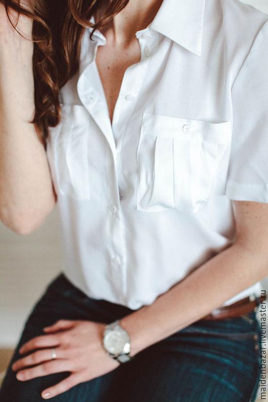 Блузки ручной работы. Ярмарка Мастеров - ручная работа. Купить Рубашка на заказ. Handmade. Белый, строгая блузка, блузка из вискозы