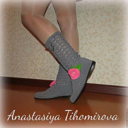 Обувь ручной работы. Ярмарка Мастеров - ручная работа. Купить Сапожки. Handmade. Темно-серый, сапоги на заказ, сапоги женские
