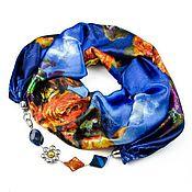 Аксессуары ручной работы. Ярмарка Мастеров - ручная работа Шелковый шарф ожерелье синий/оранжевый. Handmade.