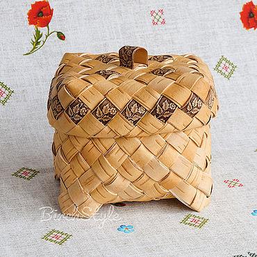 Для дома и интерьера ручной работы. Ярмарка Мастеров - ручная работа Ларец из бересты плетёный. Коробка для хранения трав, рукоделия. Handmade.