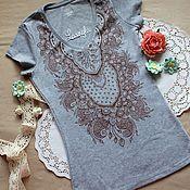 Одежда ручной работы. Ярмарка Мастеров - ручная работа Женская футболка с мехенди. Handmade.