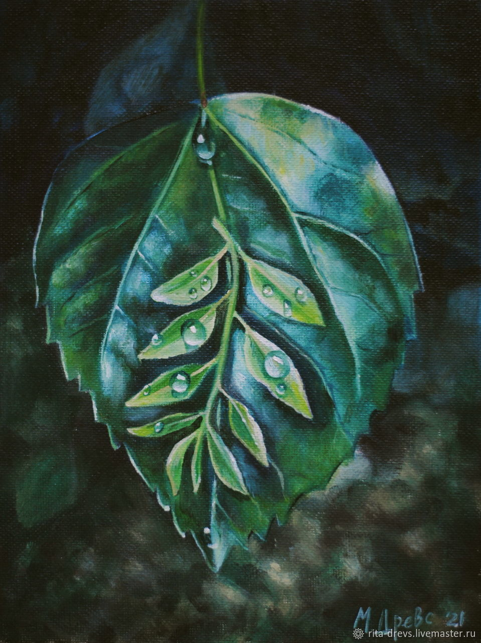 Oil Painting Green Leaf, Pictures, Rostov-on-Don,  Фото №1