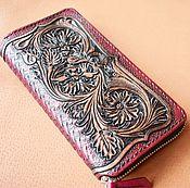 Сумки и аксессуары handmade. Livemaster - original item Women`s Wallet leather with embossed zipper. Handmade.