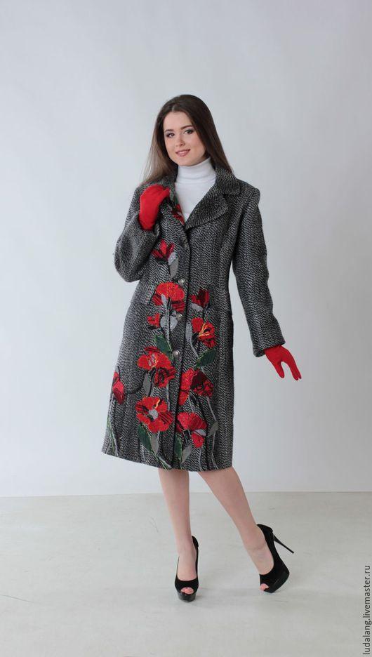 Верхняя одежда ручной работы. Ярмарка Мастеров - ручная работа. Купить Твидовое пальто Маки. Handmade. Серый, Дизайнерское пальто