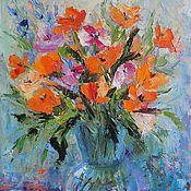 Картины и панно handmade. Livemaster - original item Painting orange flowers in a vase on a blue background abstract bouquet oil. Handmade.