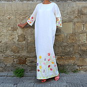 Одежда ручной работы. Ярмарка Мастеров - ручная работа Белое льняное макси платье с ручной росписью, большие размеры. Handmade.