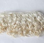 Doll hair handmade. Livemaster - original item Mohair tress short hair (white, unpainted). Handmade.