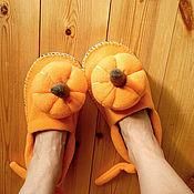 Обувь ручной работы. Ярмарка Мастеров - ручная работа Домашние тапки тыквы.. Handmade.