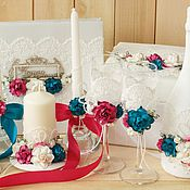 Свадебный салон ручной работы. Ярмарка Мастеров - ручная работа Свадьба фуксия и бирюза. Handmade.