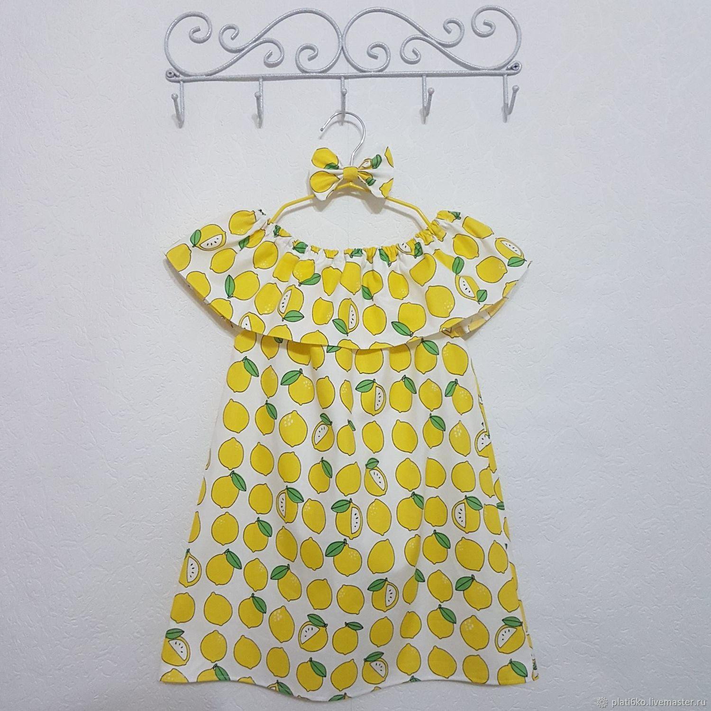 """Одежда для девочек, ручной работы. Ярмарка Мастеров - ручная работа. Купить Детское платье для девочки с воланом из хлопка """"Лимоны"""". Handmade."""