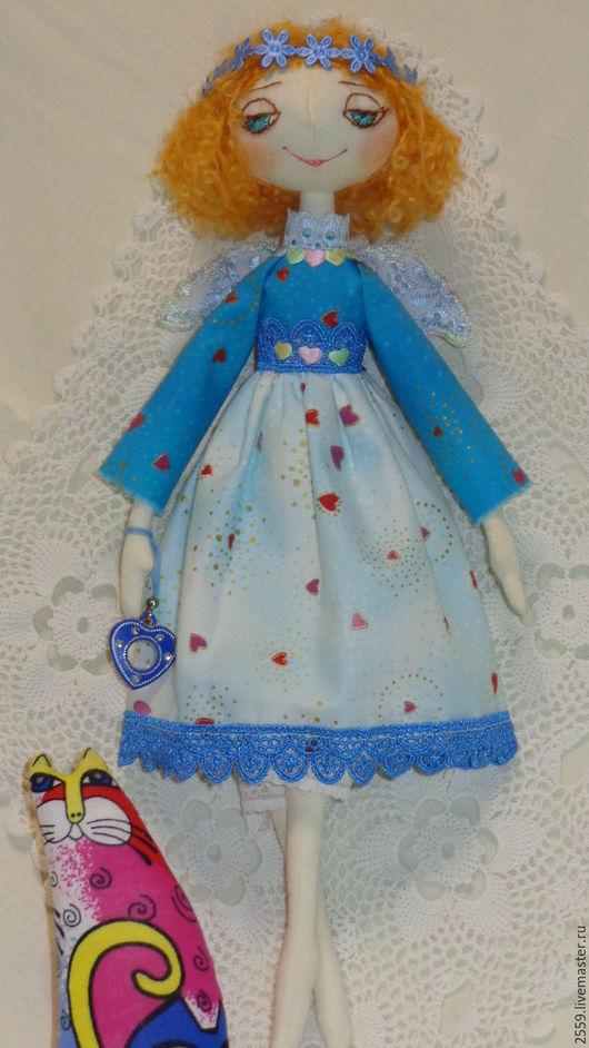 Коллекционные куклы ручной работы. Ярмарка Мастеров - ручная работа. Купить Ангелочек сердечный с котиком Лорел Берч. Handmade. Разноцветный