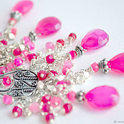 Украшения handmade. Livemaster - original item Earrings silver, pink chalcedony, silver