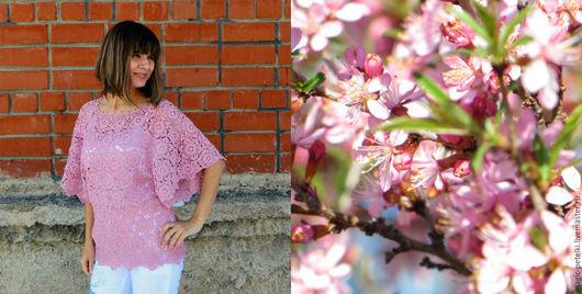 """Блузки ручной работы. Ярмарка Мастеров - ручная работа. Купить Блузка """"Цветущий миндаль"""". Handmade. Бледно-розовый, мерсеризованный хлопок"""