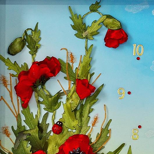"""Часы для дома ручной работы. Ярмарка Мастеров - ручная работа. Купить Часы настенные вышитые """"Маков цвет"""". Handmade."""
