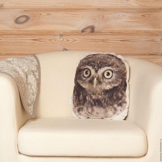 Текстиль, ковры ручной работы. Ярмарка Мастеров - ручная работа. Купить Подушка Совёнок – льняная подушка в виде совы, подарок любителю сов. Handmade.