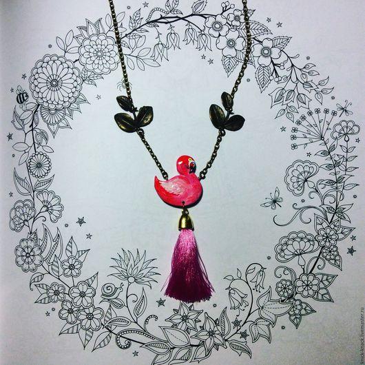 Кулоны, подвески ручной работы. Ярмарка Мастеров - ручная работа. Купить Кулон Фламинго. Handmade. Розовый, flamingo, тропики, фурнитура