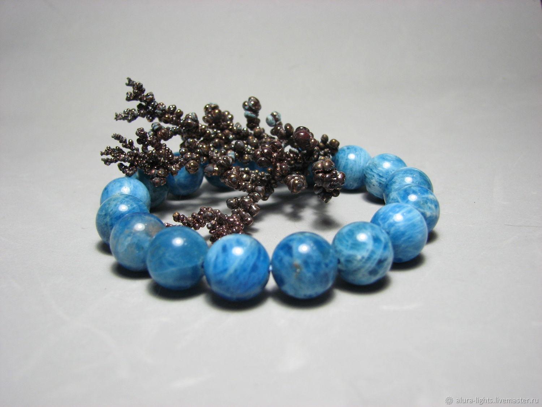 Bracelet blue Apatite ' Sky on the palm', Bead bracelet, Moscow,  Фото №1