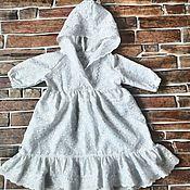 Работы для детей, ручной работы. Ярмарка Мастеров - ручная работа Крестильное платье с капюшоном и длинным рукавом. Handmade.