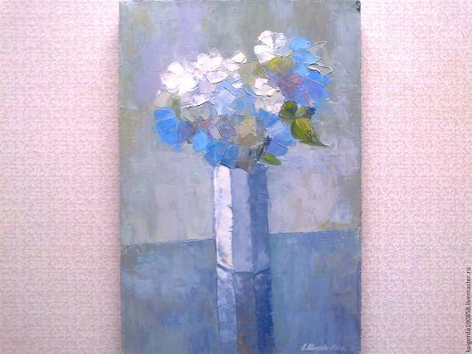 Натюрморт ручной работы. Ярмарка Мастеров - ручная работа. Купить Цветы на столе. Handmade. Серый, цветы в вазе, холст на подрамнике