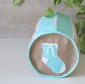 Работы для детей, handmade. Livemaster - original item Bag for children`s clothes newborn gift Mint stocking. Handmade.