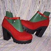 """Обувь ручной работы. Ярмарка Мастеров - ручная работа Туфли валяные """"Красное и Черное"""". Handmade."""