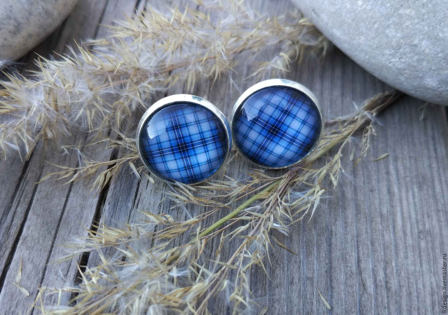 Earrings silver plated Cage blue, Earrings, Moscow,  Фото №1