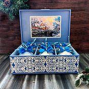 Для дома и интерьера handmade. Livemaster - original item Set of Christmas balls with picture in the box Dot painting. Handmade.