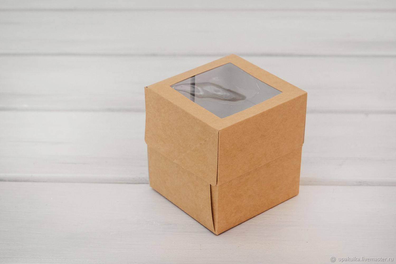 Коробка для капкейков/маффинов на 1 шт, с окошком, 10х10х11 см, Упаковка, Москва, Фото №1