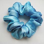 Украшения handmade. Livemaster - original item Blue silk hair band with manual coloring. Handmade.