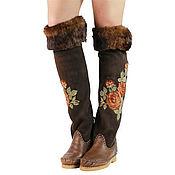 Обувь ручной работы handmade. Livemaster - original item - 35% Winter boots boots with fold ROSA /brown/. Handmade.