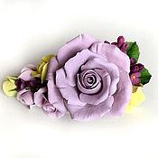Украшения ручной работы. Ярмарка Мастеров - ручная работа Заколка с сиреневыми розами. Handmade.