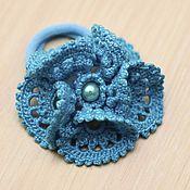 """Украшения ручной работы. Ярмарка Мастеров - ручная работа """"Кружевной голубой цветок"""". Handmade."""