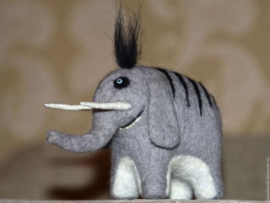 Игрушки животные, ручной работы. Ярмарка Мастеров - ручная работа. Купить Слон редкий(полосатый). Handmade. Серый, слон, фелтинг