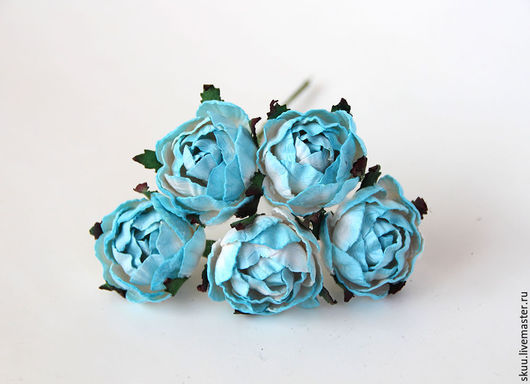 Открытки и скрапбукинг ручной работы. Ярмарка Мастеров - ручная работа. Купить Цветы ранункулюсов бело-голубые 1 шт. Handmade.